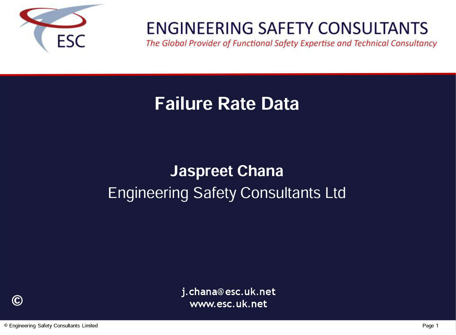 Failure Rate Data - Functional Safety Presentation - Engineering Safety Consultatns